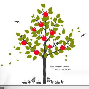 그래픽스티커,cr584-나의사과나무_그래픽스티커,사과,나무,자연,식물,잔디,새,봄,꾸미기,인테리어,셀프,스티커,그래픽,리폼,포인트,일러스트,데코,시트지