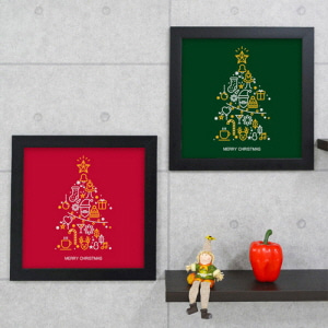 디자인액자,cu416-크리스마스트리와함께_인테리어액자,벽면디자인데코소품세트,벽걸이,성탄,나무,별,산타,선물,겨울,기념,아이콘,루돌프,초록,빨강